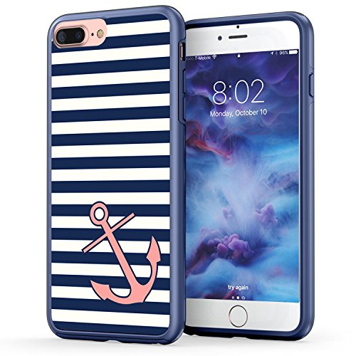 iPhone 7 Plus Case, Anchor iPhone 8 Plus Case, True Color Nautical Coral Anchor on Stripes Hybrid Hard Back Cover + Soft Slim Durable Protective Shockproof Rubber TPU Bumper - Navy Blue