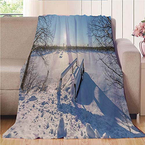 Blanket Comfort Warmth Soft Air Conditioning Easy Care Machine Wash House,Winter,Snow Covered Nature with Old Wooden Bridge over Frozen Lake and Tree Scenery,White Light Blue,47.25
