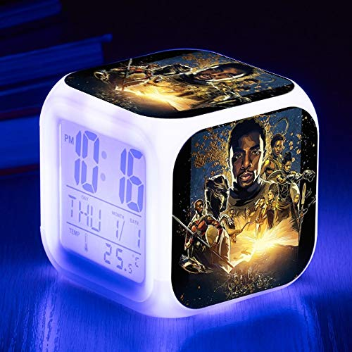 Amazon.com: Marvel Avengers 3 Infinity War Black Panther Action Figures Alarm Clock Cute LED Digital Reloj Despertador Night Glowing Toys: Toys & Games