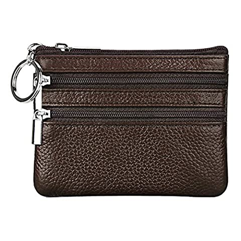IDEAWIN Genuine Leather Slim Coin Change Purse with Key Ring Card Case Wallet