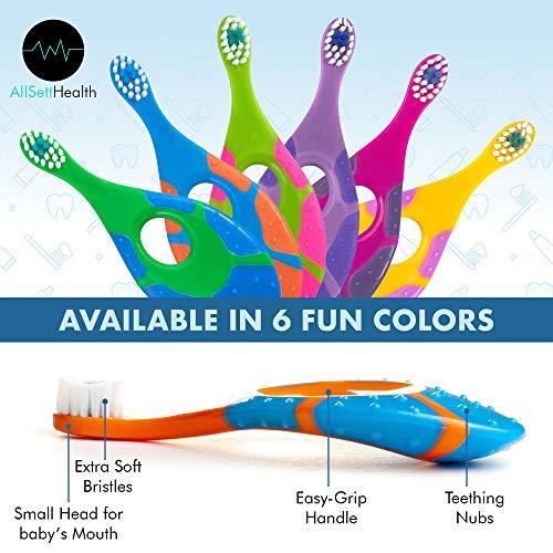 512vPf8NYmL - 6 Pack - Baby Toothbrush, 0-2 Years, Soft Bristles, BPA Free | Toddler Toothbrush, Infant Toothbrush, Training Toothbrush, Includes Free Toothbrush Holder