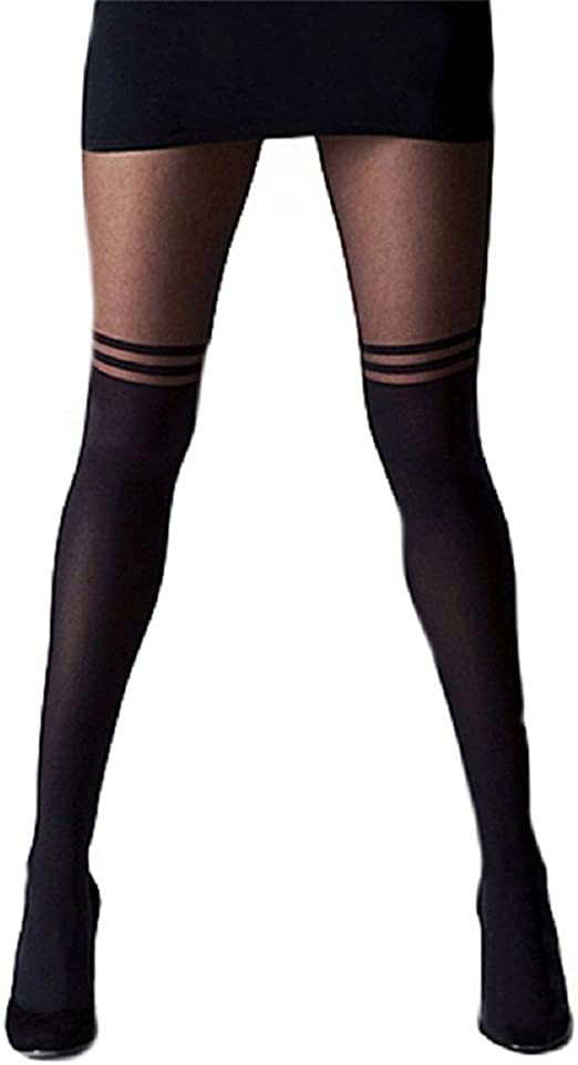 Black Striped Sheer Spandex Mock Wide Lace Thigh High Faux Stockings Pantyhose
