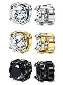 FIBO STEEL 3 Pairs Stainless Steel Round Magnetic Earrings for Men Women CZ Studs Earrings,4-8MM