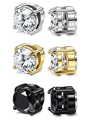 FIBO+STEEL+3+Pairs+Stainless+Steel+Round+Magnetic+Earrings+for+Men+Women+CZ+Studs+Earrings%2C5MM