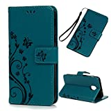 Galaxy J3 2018 Case, Galaxy J3 Achieve Case, PU Leather Embossed Floral Butterfly Wallet Purse Credit Card Holders Magnetic Flip Folio TPU Soft Bumper Slim Protective Cover for Samsung Galaxy J3, Blue