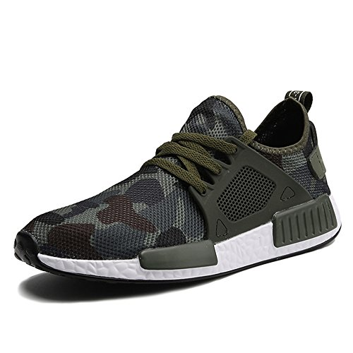 Army Mens Shoes - XIANV Fashioin Sneakers Camouflage Unisex Shoes Men Running Shoes Height Increase Male Comfort Footwear Size 36-44(10,Green)