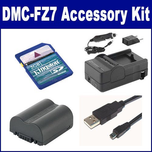 Panasonic Lumix DMC-FZ7 Digital Camera Accessory Kit includes: USB8PIN USB Cable, SDCGAS006 Battery, SDM-162 Charger, KSD2GB Memory Card
