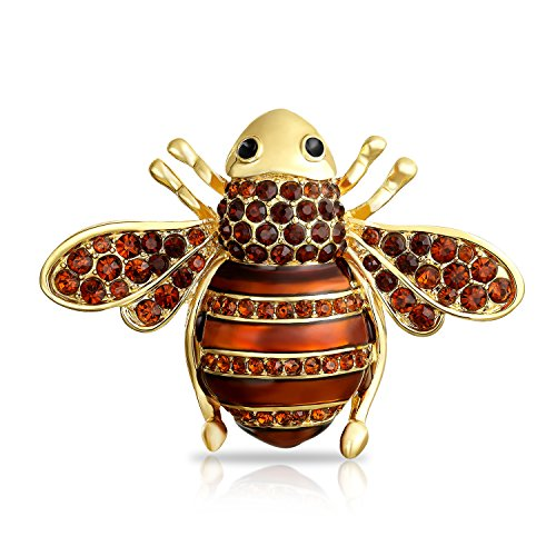 Bling Jewelry Gold Plated Alloy Crystal Bumble Bee Insect Brooch ()