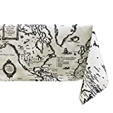 Ustide World Map Design House Restaurant Tablecloth Cotton and Linen Table Cloth , Oblong, 55'x70' , Shads