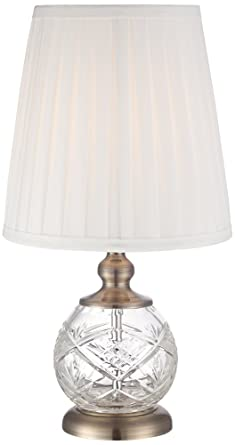 Ida Crystal Sphere And Brass 15u0026quot; High Mini Accent Table Lamp