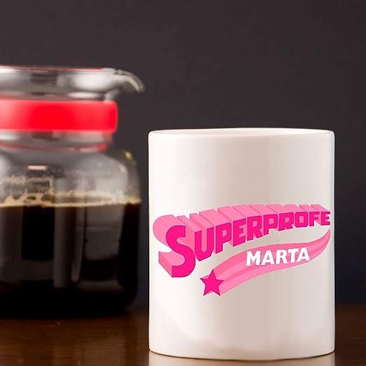 Calledelregalo Regalo Personalizado para Profesores y profesoras; Taza Superprofe Personalizable con su Nombre (Superprofe Divertida Rosa): Amazon.es: Hogar