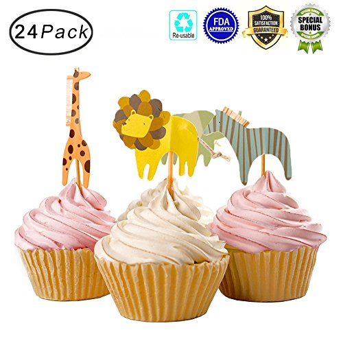 Tonnier - ♥ Lovely Animals Series ♥ - Zoo Set of 24 Pieces - Cake and Cupcake Toppers, Decoration