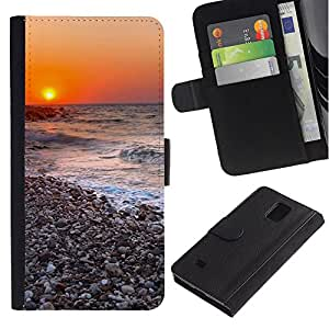All Phone Most Case / Oferta Especial Cáscara Funda de cuero Monedero Cubierta de proteccion Caso / Wallet Case for Samsung Galaxy Note 4 IV // Sunset Beautiful Nature 116