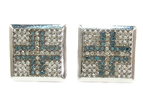 10K White Gold 1.00 cttw Round Cut Blue and White Diamond Square Stud Earrings with Screw Back by Traxnyc