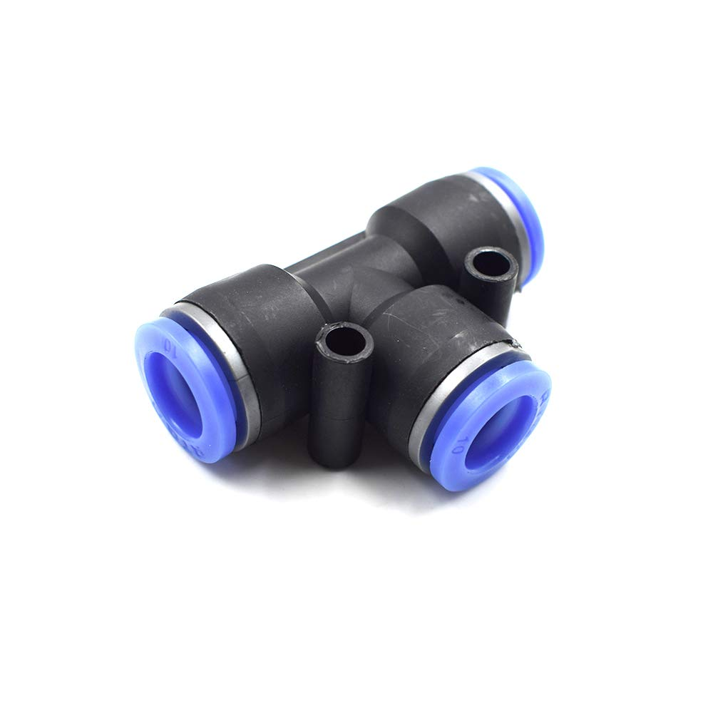 10 Pcs//Pack HONJIE PE Union Tee Type Plastic Push to Quick Connect Tube Fitting PE-3//8 inch