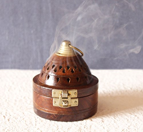 Incense Cone Box - The StoreKing Handmade Wooden Classic Mughal Inspired Pyramid Incense Cone Dhoop Burner Holder with Top Cone Shape Incense Burner Box (Round)