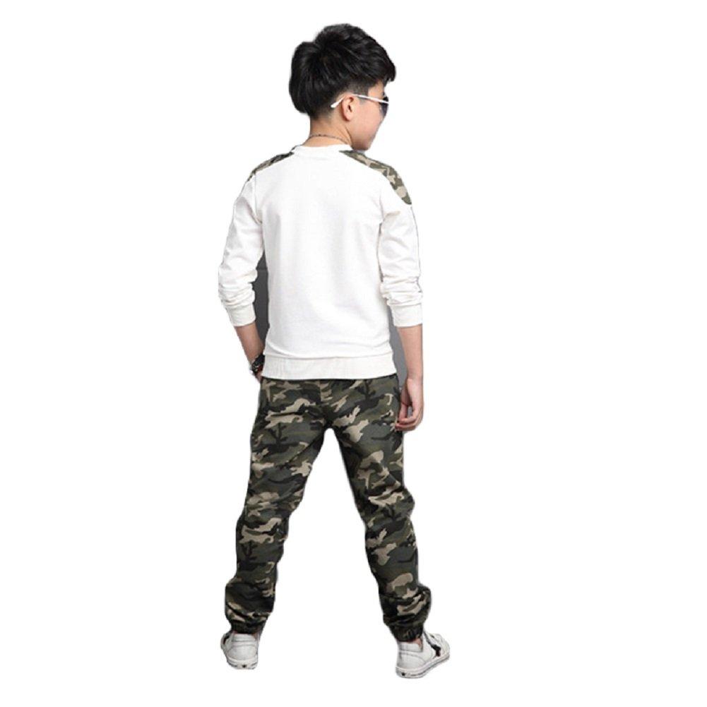 DREAMOWL 2Pcs Big Boys /à Manches Longues /à la Mode Camouflage Tops Pantalons V/êtements SET