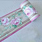 SimpleLife4U Luxury Peony Removable Wallpaper Border Self Adhesive Stciker Kitchen Bathroom Wall Decor