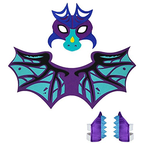 Toddler Kids Dragon Wings Costume with Masks, Bracelets-Boys Girls' Pretend Play and Games (Purple)]()