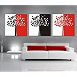Abstract Black White And Red Tree Decorative Canvas Painting Modern Art of 3 Pieces Use for Living Bed Room or Office