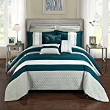 Chic Home CS2548-AN 10 Piece Pueblo Complete Bedroom Set With Octagon Embroidery Color Block Pattern Bed In A Bag Comforter Set Teal With Sheet Set, Queen, Blue