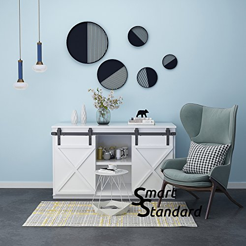 SMARTSTANDARD Mini Cabinet 5.0ft Double Door Sliding Barn Door Hardware for Cabinet TV Stand Wardrobe (Black) (Mini J Shape Hangers) (1 x 5.0 foot Rail)