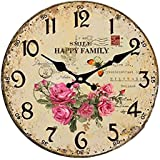 Vintage/Country Style Wooden Silent Round Wall Clocks Decorative Clocks,P