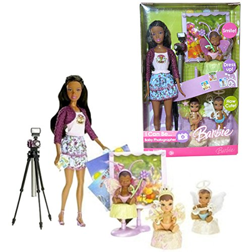 Barbie Mattel Year 2006 I Can Be Series 12 Inch Doll - Nikki as Baby Photographer (K8579) with 3 Babies in Fairy Costume, Camera with Stand and Picture Frame (Photographer Barbie)