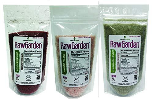 Raw Garden Fine Gourmet Salt Variety 3 Pack 8 oz Hawaiian Red Alaea, Green Bamboo, Himalayan Pink by Raw Garden