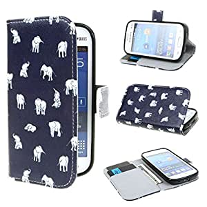 TJA Small Elephants Design Wallet PU Leather Stand Flip Case Cover for Samsung Galaxy Fresh S7390 / Samsung Galaxy Fresh Duos S7392