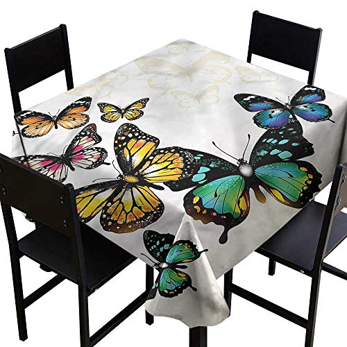 home1love Butterfly Washable Square Tablecloth Monarch Shades Ombre for Events Party Restaurant Dining Table Cover 70 x 70 Inch