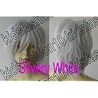 "FidgetGear 14"" Short Hair Wavy Heat Resistant Anime Cosplay Wig Synthetic 14G Silvery White 14 Inch Short Hair 35cm"