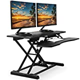 """TechOrbits Standing Desk Converter - 37"""" Stand Up Desk Riser - Tabletop Sit Stand Desk Fits Dual Monitors - Two Tiered Height Adjustable Workstation with Removal Keyboard Tray - Black - (Rise-X Pro)"""
