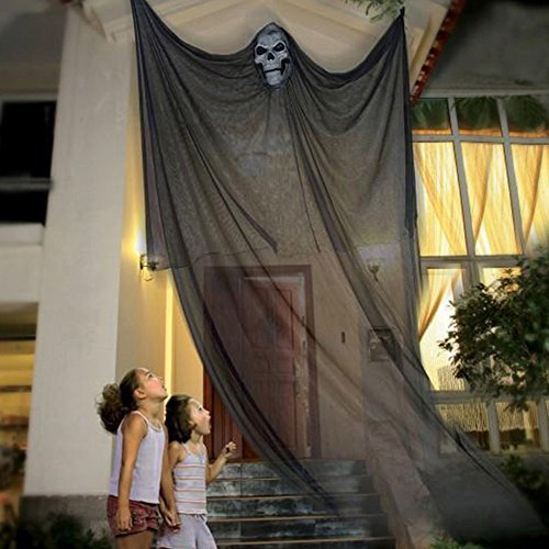 10ft Halloween Props Scary Halloween Ghost Decorations Halloween Hanging Ghost Prop Halloween Hanging Skeleton Flying Ghost Halloween Hanging Decorations for Yard Outdoor Indoor Party Bar -
