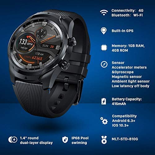 TicWatch Pro 4G LTE Cellular Smartwatch GPS NFC Wear OS by Google Android Health and Fitness Tracker with Calls Notifications Music Swim Sleep Tracking Heart Rate Monitor US Version 7