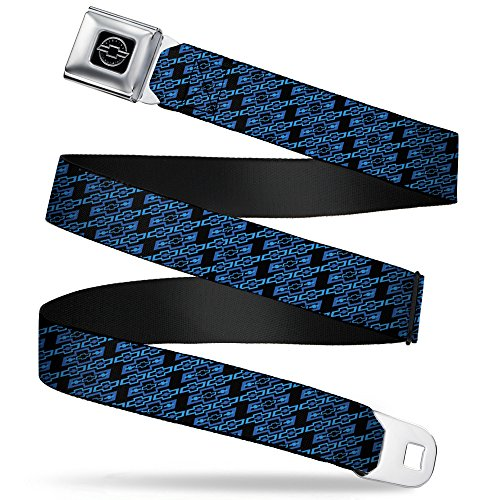 Buckle-Down Seatbelt Belt - Diagonal Retro Chevy Bowtie Monogram Black/Blues - 1.0