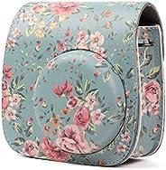 LEDMOMO Bolsa protetora de couro PU para câmera Fujifilm Instax Mini 8/8+/9 câmera instantânea (fundo azul ros