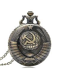 USSR Soviet Sickle Hammer Quartz Pocket Watch Necklace Chain Men's Pendant Bronze