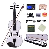 ammoon 4/4 Acoustic Electric Violin Fiddle Solid Wood Body Ebony Fingerboard Pegs Chin Rest Tailpiece with Bow Hard Case Tuner Shoulder Rest Rosin Extra Strings & Bridge
