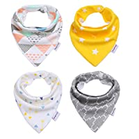Storeofbaby 4 Pack 100% Cotton Baby Bandana Drool Bib for Boys and Girls Show...