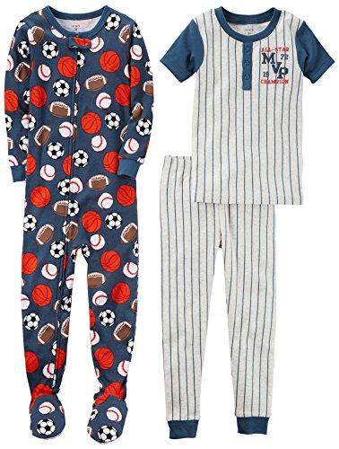 Carter's Boys' Toddler 3-Piece Cotton Snug-Fit Pajamas, Sports, 3T