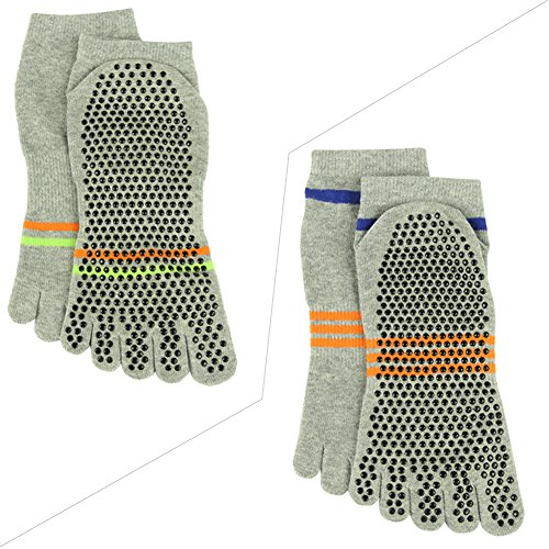 Barre Sports 2 amp;Men Gripes Women for Socks Slip Pilates 014 Stripes Athletic Non Socks Pairs J'colour 2 Grey Ankle Yoga Different qF8XUxXw