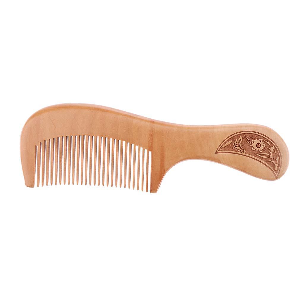 Homyl Antiestático Peine de Diente Ancho de Madera Cepillo de Pelo Cuidado Brocha para Cabello - L