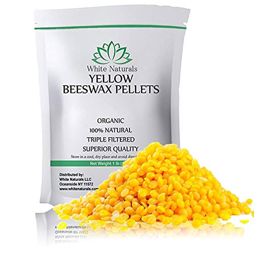 Beeswax Pellets 1 lb, Yellow, Pure, Natural, Cosmetic Grade, Bees Wax Pastilles, Triple Filtered, Great for DIY Projects, Lip Balms, Lotions, Candles by White Naturals ()