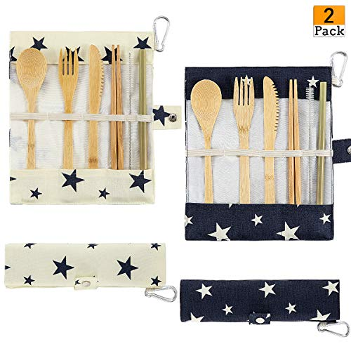 2 Pack Bamboo Cutlery Set Reusable Natural Travel Flatware Include Knife, Fork, Spoon, Straw and Cleaning Brush for Camping Office Lunch