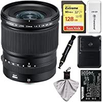 Fujifilm GF 23mm f/4.0 R LM WR Lens with 128GB Card + Battery & Charger + Kit for GFX 50S Digital Camera