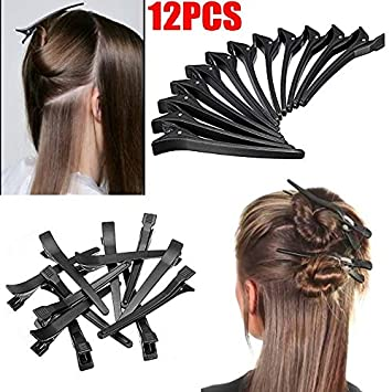 Majik Professional Section Duck Clips, Home And Parlour Accessories, Hair  Coloring Section Clips 12 Pcs Set Pack Of 1 (Black)