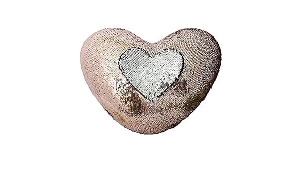 YZEO Reversible Lentejuelas Almohada Forma de corazón cojín ...