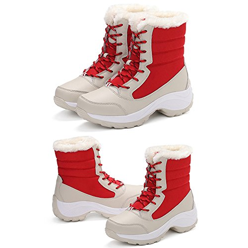 Winter Students Shoes Plus High Boots Cotton Women top Eastlion Waterproof Warm Velvet Red Snow pqdwSpB