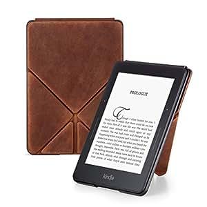 Amazon - Funda Origami de cuero premium para Kindle Voyage, marrón - edición limitada